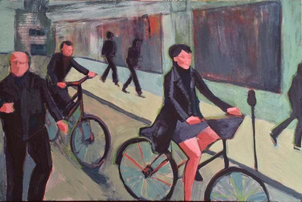 "Paris bicyclers, 2016 36""x24"""